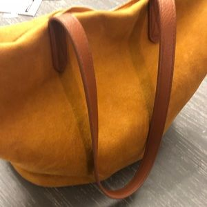 Faux suede fall colored tote bag